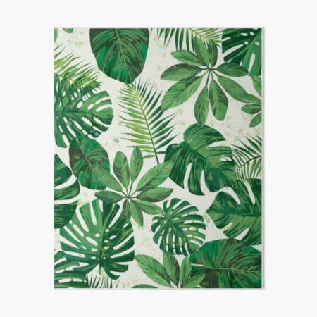 Tropical Palm Leaf Seamless Pattern, Sea Sand, Cream, Mineral Green, Gothic Gray , Avocado, Black Olive. Art Board Print