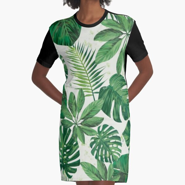 Tropical Palm Leaf Seamless Pattern, Sea Sand, Cream, Mineral Green, Gothic Gray , Avocado, Black Olive. Graphic T-Shirt Dress