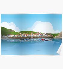 Staithes Digital Art Poster