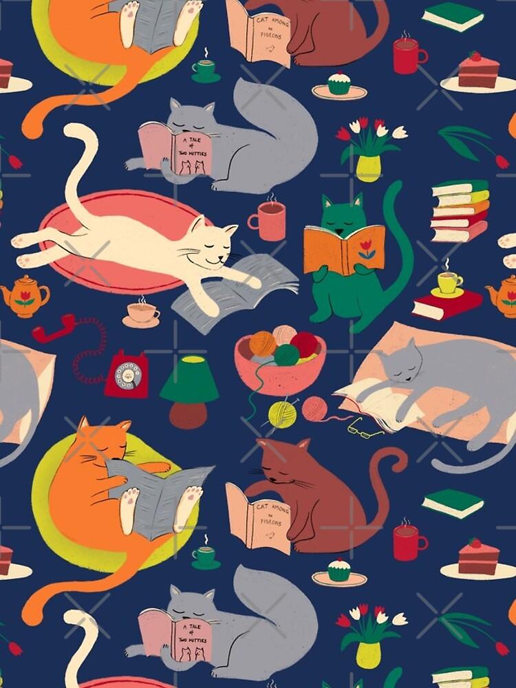 Cosy cats reading - cute cat pattern by Cecca Designs by Cecca-Designs