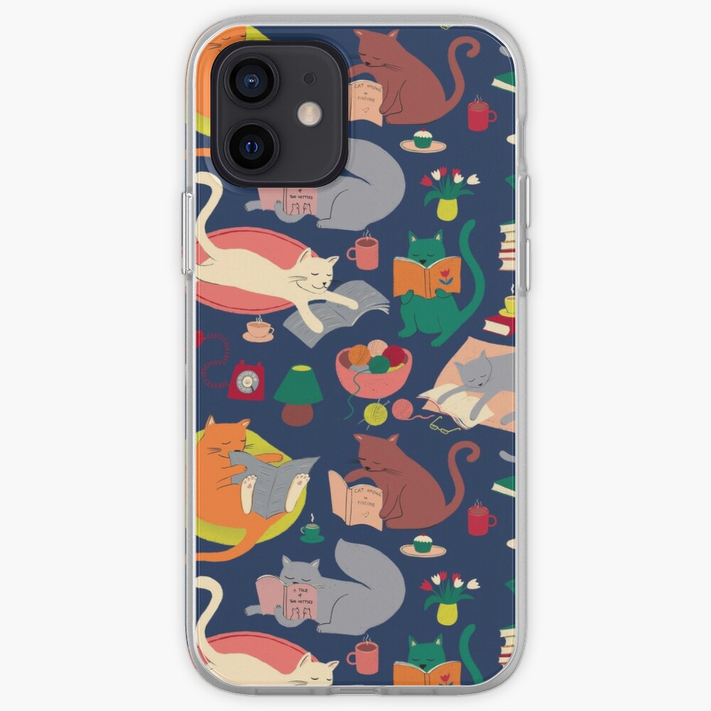 Cosy cats reading - cute cat pattern by Cecca Designs iPhone Case & Cover