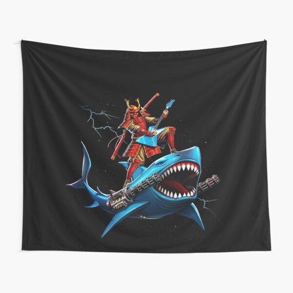 samurai surfing on a shark in space Tapestry
