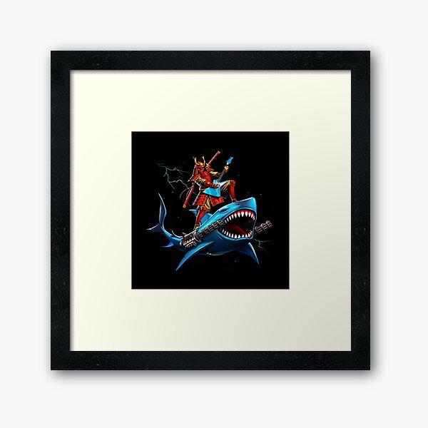 samurai surfing on a shark in space Framed Art Print