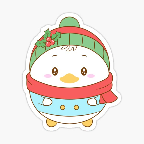 Merry Christmas cute duck drawing with Christmas berry hat and pink scarf for winter season Sticker