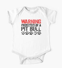 Warning Protected By A Pit Bull One Piece - Short Sleeve
