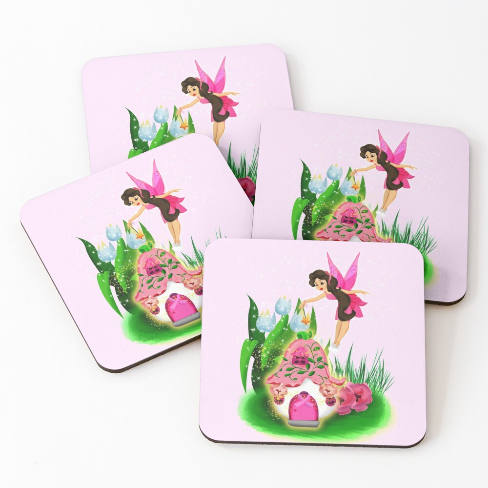 Join Esperanza the Hope and Faith Fairy In Pretty In Pink™ Coasters (Set of 4)