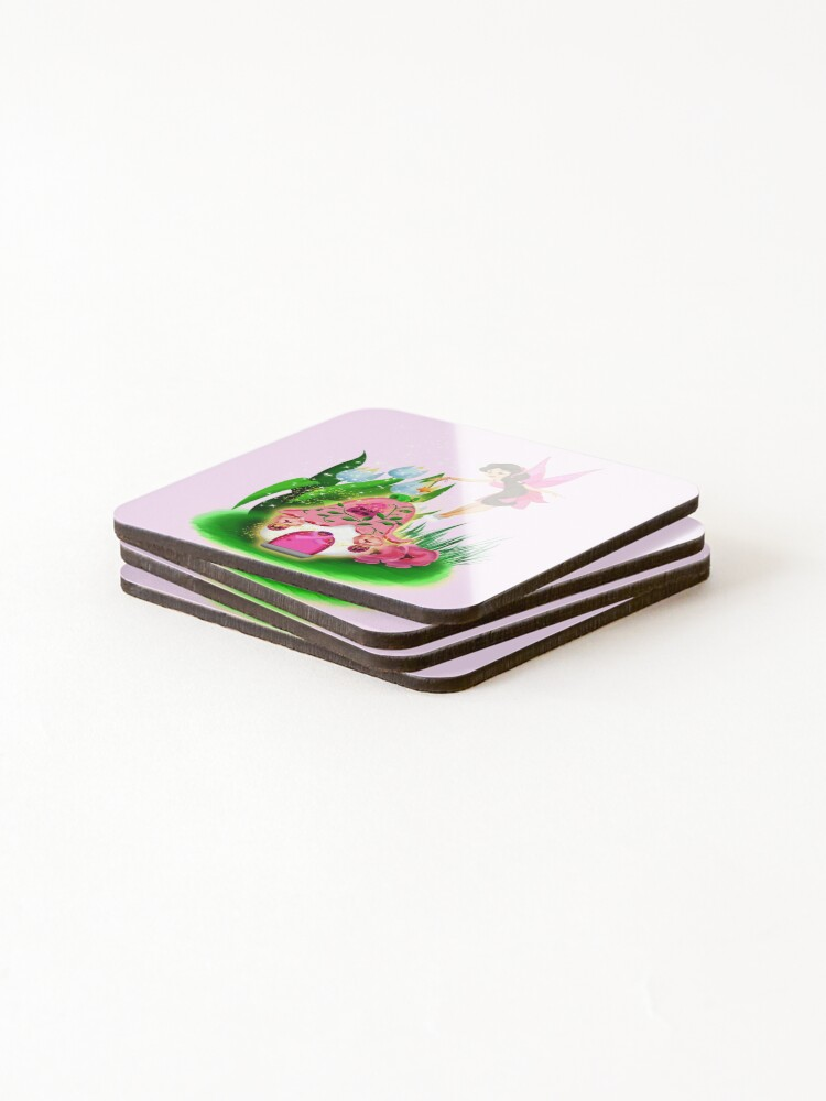 Alternate view of Join Esperanza the Hope and Faith Fairy In Pretty In Pink™ Coasters (Set of 4)