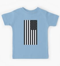 American Flag, BLACK, In Mourning, America, Americana, Stars & Stripes, White on Black, PORTRAIT, USA Kids Clothes