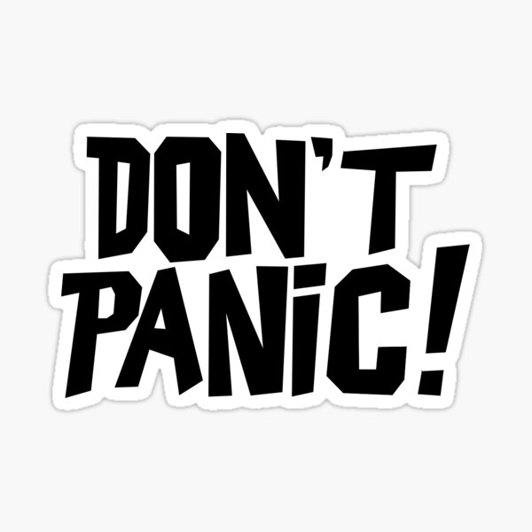 Don't Panic! Hitchhiker's Guide TV Series Font Glossy Sticker