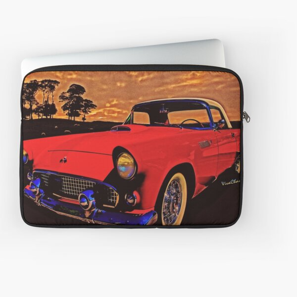 Old Trevor's 56 T-Bird in red out at the sheep station round bout sundown Laptop Sleeve