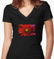 Bright Red Chrysanthemum Women's Fitted V-Neck T-Shirt