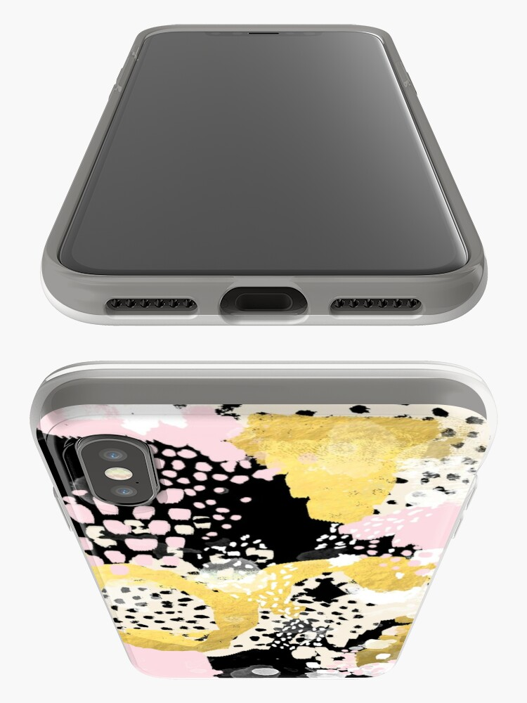 Alternate view of Simone - abstract painting gold foil trendy hipster pastel pink modern trendy colors decor college iPhone Case & Cover