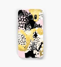 Simone - abstract painting gold foil trendy hipster pastel pink modern trendy colors decor college Samsung Galaxy Case/Skin