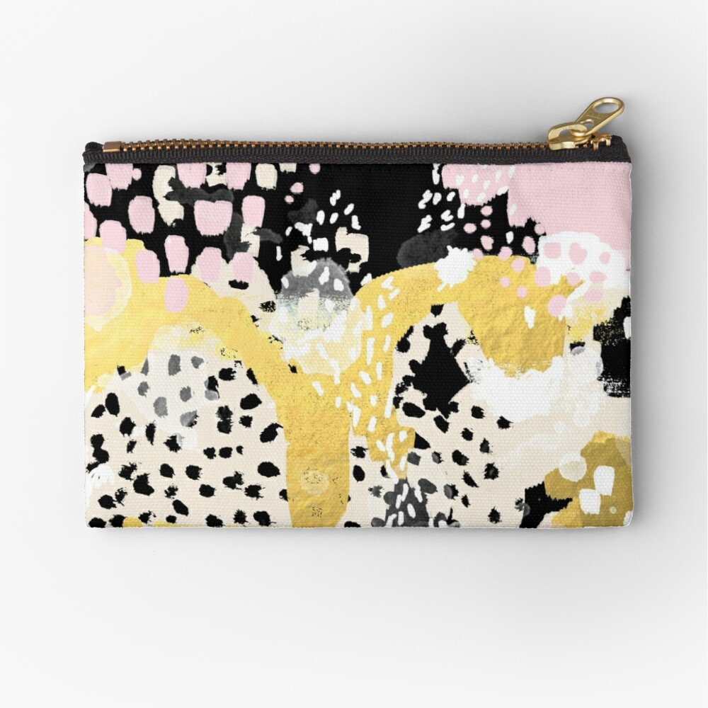Simone - abstract painting gold foil trendy hipster pastel pink modern trendy colors decor college Zipper Pouch