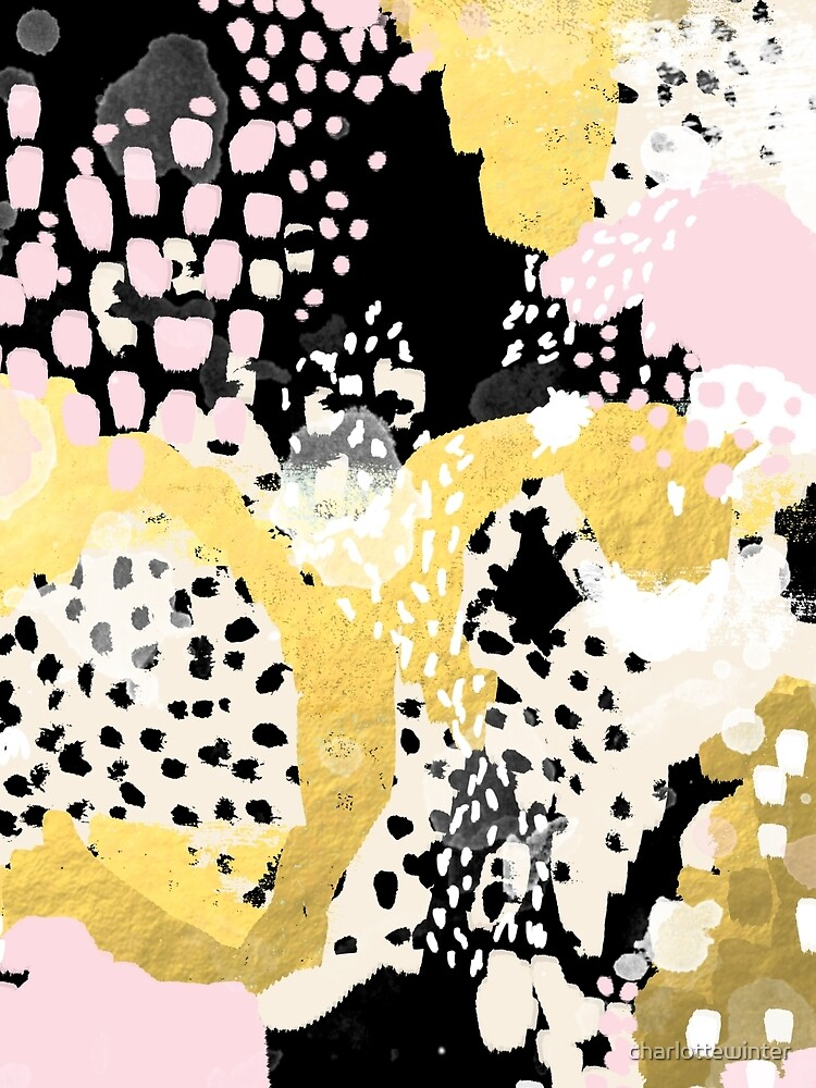 Simone - abstract painting gold foil trendy hipster pastel pink modern trendy colors decor college by charlottewinter