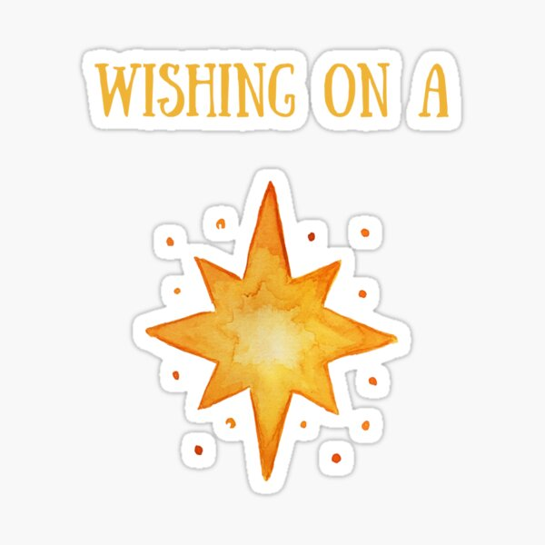 """Handpainted Watercolor North Star Illustration """"wishing on a star"""" Sticker"""
