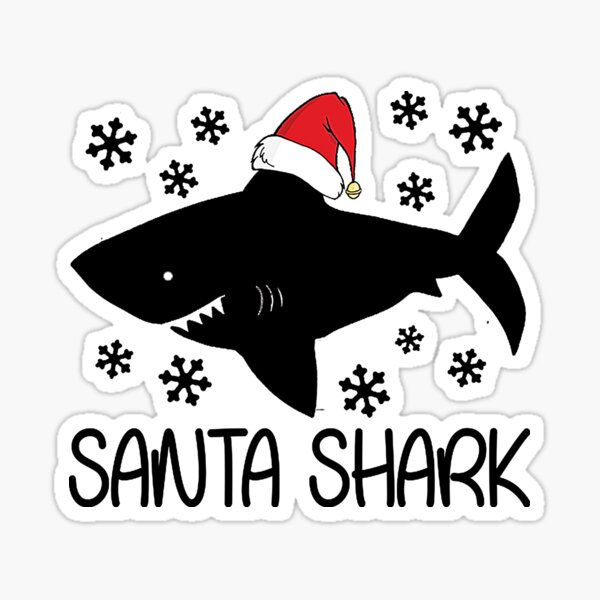 Shark Christmas Stickers Redbubble