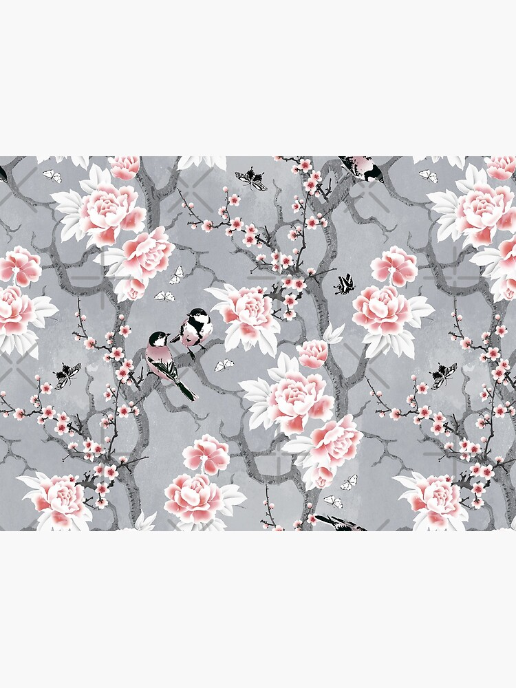 Chinoiserie birds in grey by adenaJ