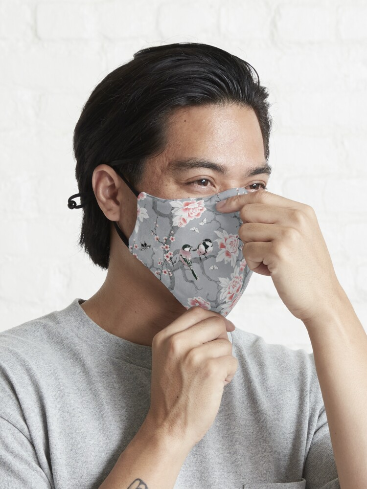 Alternate view of Chinoiserie birds in grey Mask