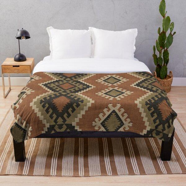 Rustic Oriental Kilim Throw Blanket