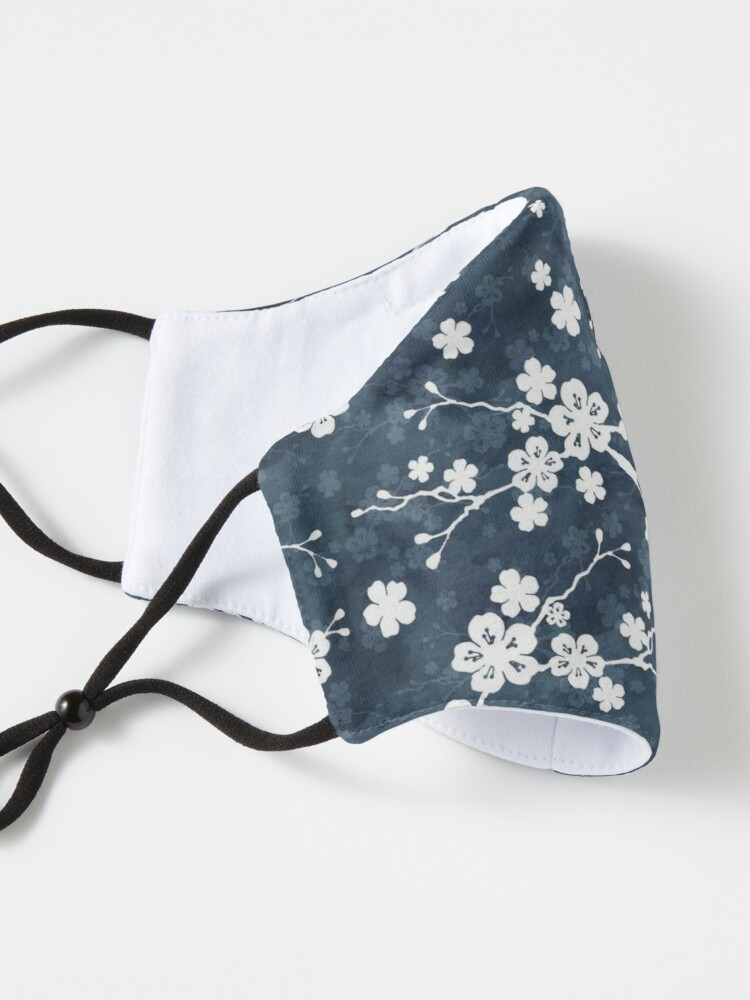 Alternate view of Navy and white cherry blossom pattern Mask