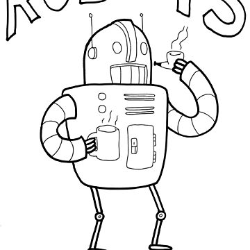 Robots are People Too- Black and White Cartoon Beauty and Powerful Message by DiabolickalPLAN