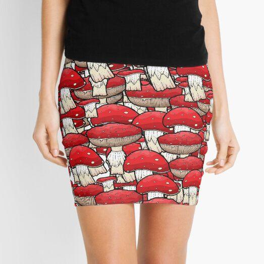 Red Mushrooms Mini Skirt