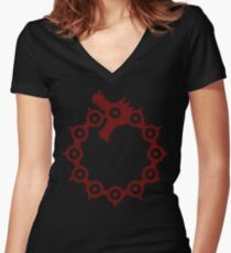 Dragon's Sin of Wrath Women's Fitted V-Neck T-Shirt