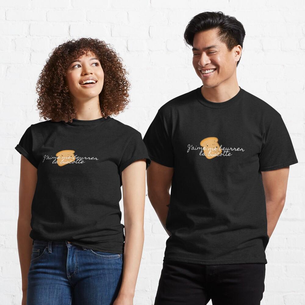 T-shirt classique «J'aime me beurre la biscotte»