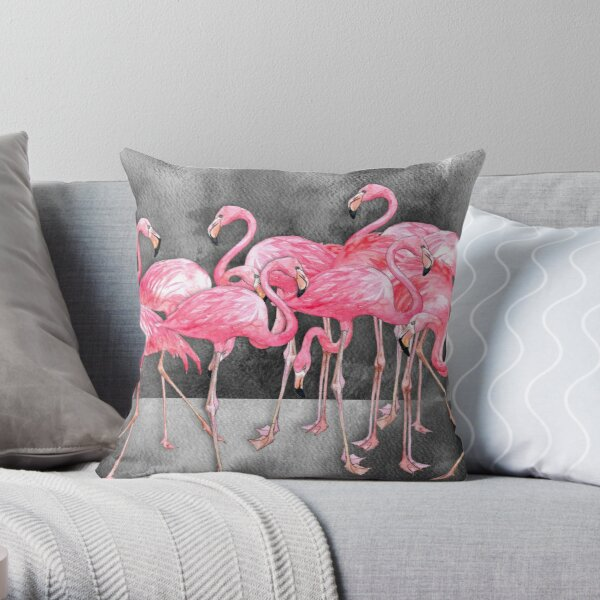 Flamingo  Collage in Watercolor and Ink Throw Pillow