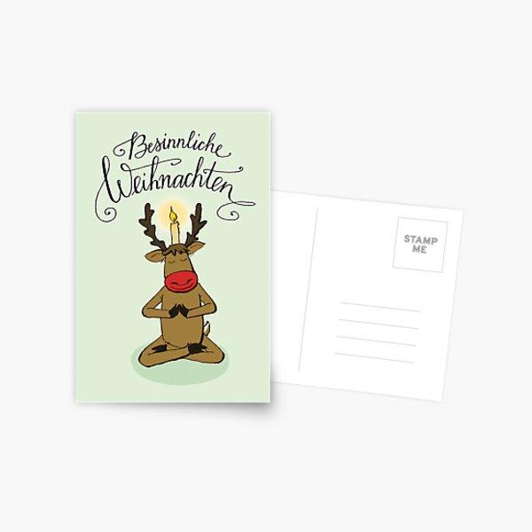 Weihnachtskarte mit meditierendem Elch Postkarte