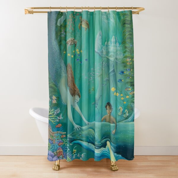 'Beyond The Reef To Atlantis' by Sonia Finch Shower Curtain