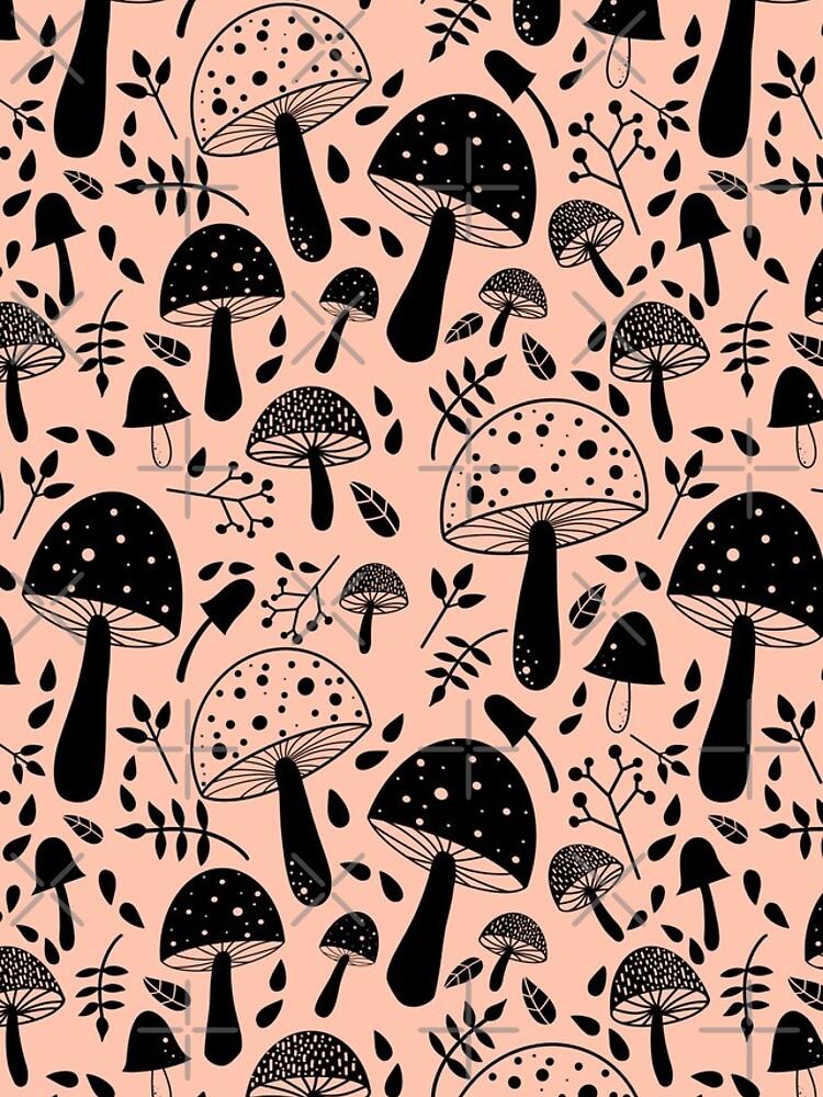 Shrooms! Mushroom pattern | Black and Pink by BeccyJackson