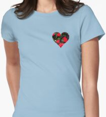 Valentine Heart and Flowers Womens Fitted T-Shirt