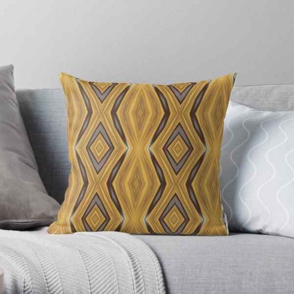 Yellow and Ochre Geometric Stretched Rhombus Pattern Throw Pillow