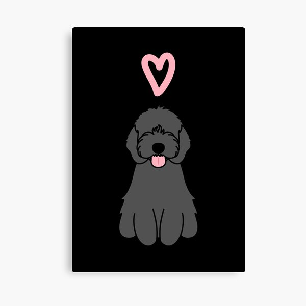 Love Black cockapoo Dog Canvas Print