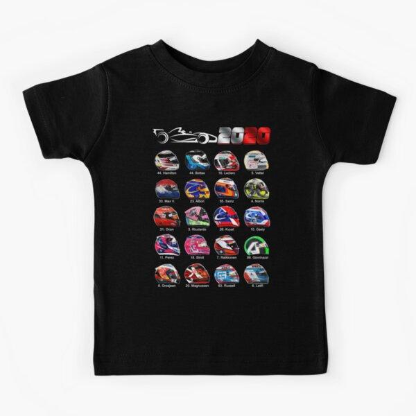 Race cars Formula 2020, helmets of drivers Kids T-Shirt