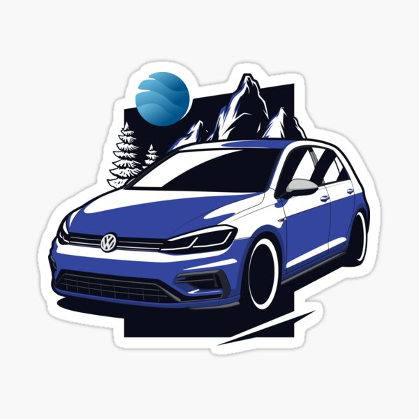 Golf bleu R Sticker