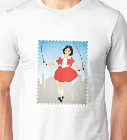 Skipping Girl Vinegar Postage Stamp Unisex T-Shirt