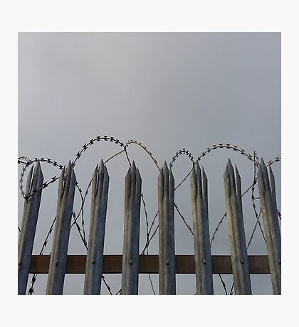 Razor-wire fence Photographic Print