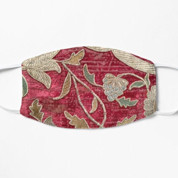 Baroque Red Floral Velvet Brocade Flat Mask