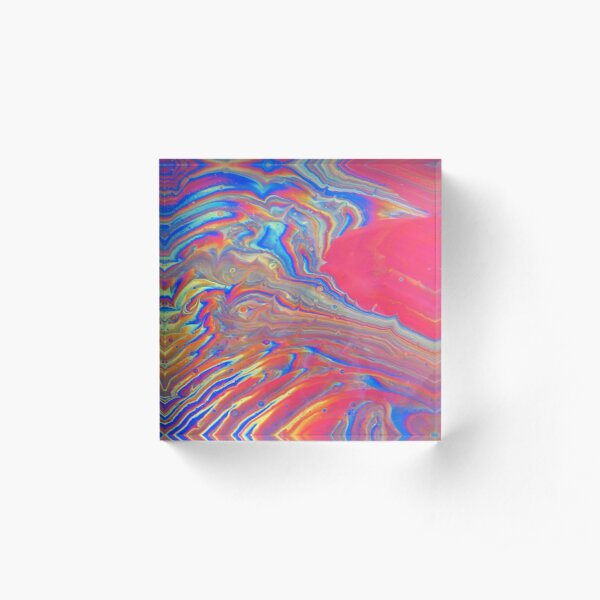 Rainbow Swirl Acrylic Block