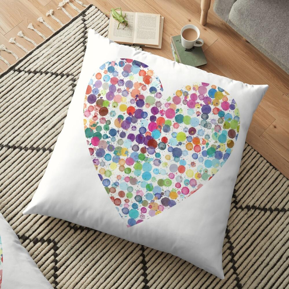 Kaleidoscope Heart Floor Pillow