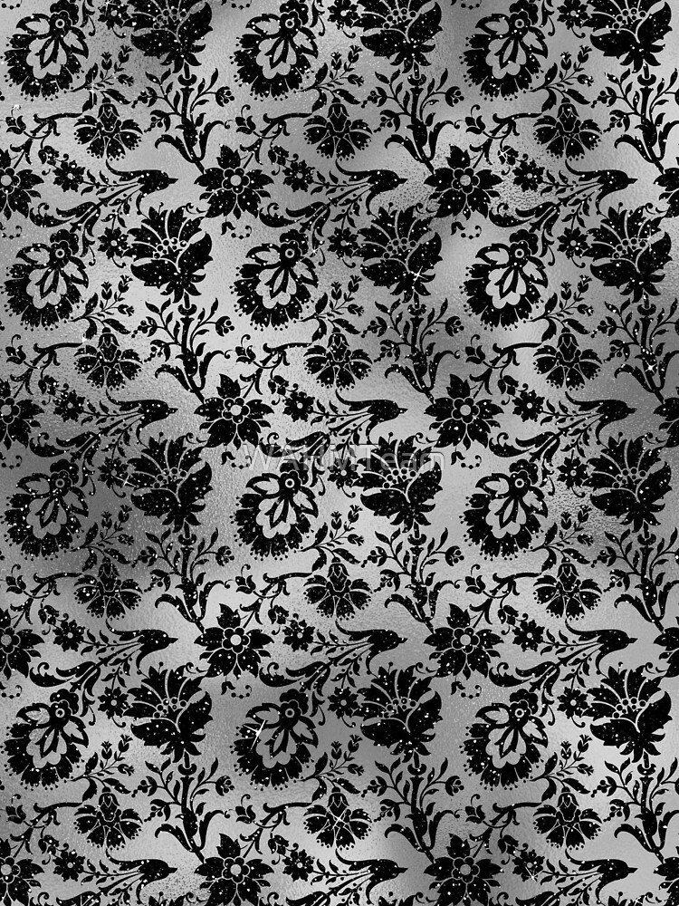 Black and Grey Floral Flourish Design by WAHMTeam