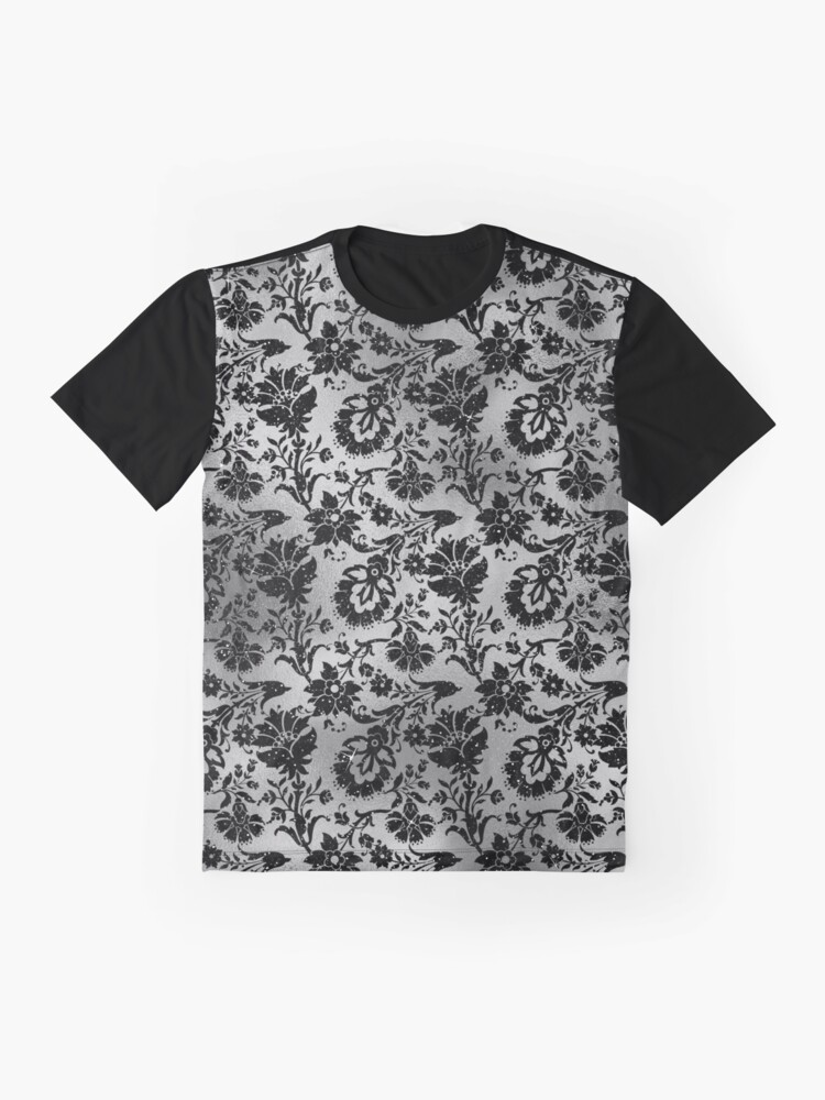 Alternate view of Black and Grey Floral Flourish Design Graphic T-Shirt