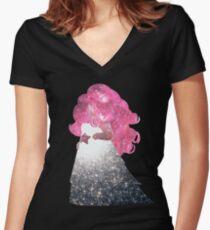 Camiseta entallada de cuello en V Cuarzo rosa