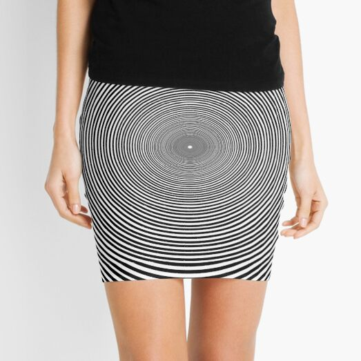 Optical illusion Concentric Circles Geometric Art, концентрические круги Mini Skirt