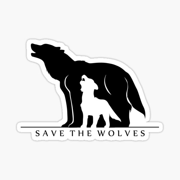 Save the Wolves (White Background) Sticker