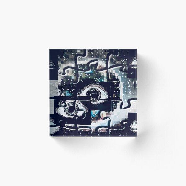 Puzzlespiele Augen Pixel Acrylblock
