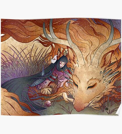 Slumber - Kitsune Fox Dragon Poster